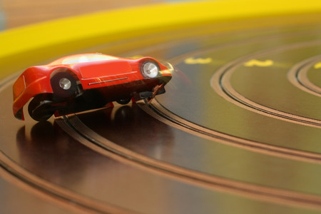 racing car on the toy race track