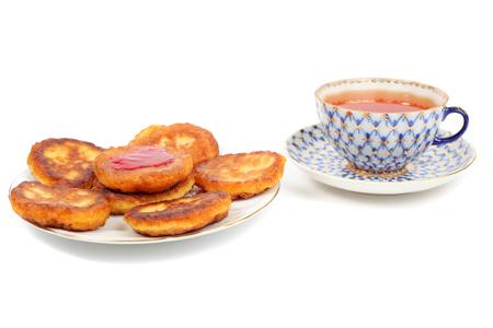 thick pancakes isolated on white 版權商用圖片