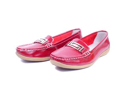 bright red glossy mocassins closeup