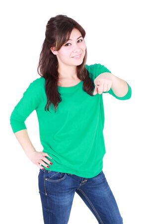young happy woman pointing with her hand Stock Photo