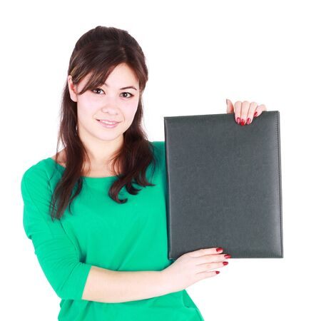 pretty young student showing blank file