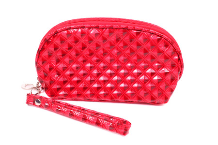 bright red cosmetic bag closeup Stock Photo