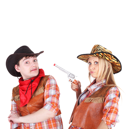 closeup image of the young cowboy and cowgirl couple