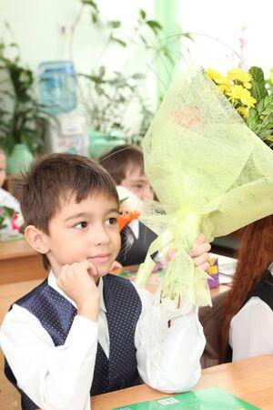little boy in the class, 1st september Stock Photo