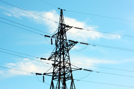 electric tower on the sky background Stock Photo