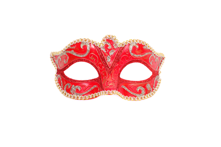 Venetian red carnival mask closeup