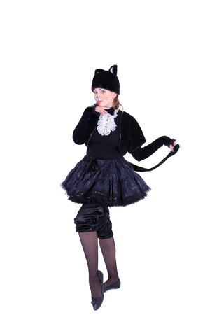 pretty young actress dressed as a pussy cat