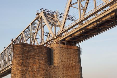 the railway bridge on the blue sky background