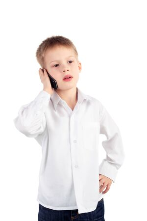 little boy with a mobile phone