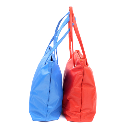 blue and pink bags closeup Stock Photo