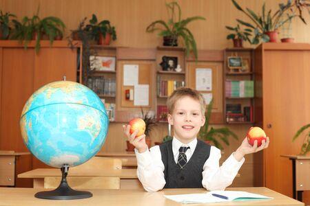 little boy in a classroom
