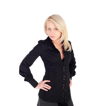 closeup image of the blond girl posing