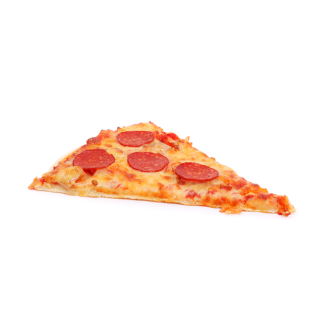 slice of pizza isolated on white