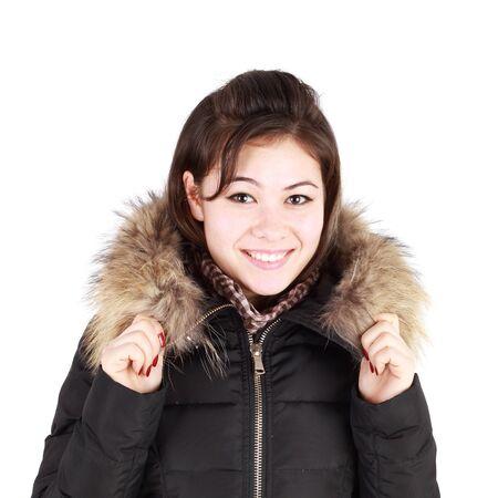 pretty young girl in the fur jacket