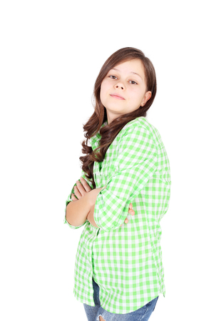 cute beautiful teen girl in the checkered shirt