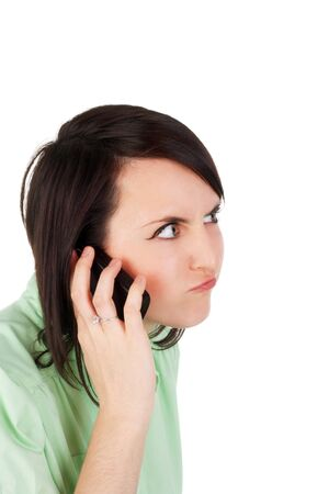 crazy angry young beautiful girl speaking the mobile phone Stock Photo