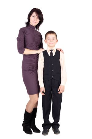 pretty young mother with her pupil son Stock Photo