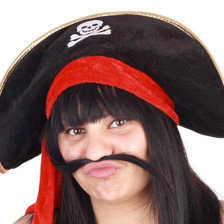 young beautiful smiling woman in the pirate hat