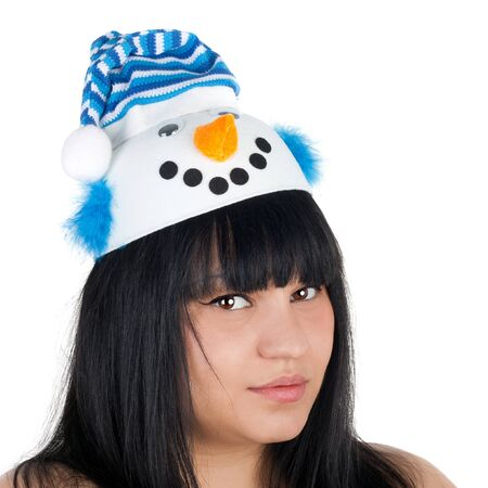 closeup image of the young pretty girl dressed in the snowman cap Stock Photo