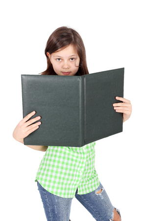 beautiful teen girl with the folder in her hands Banco de Imagens