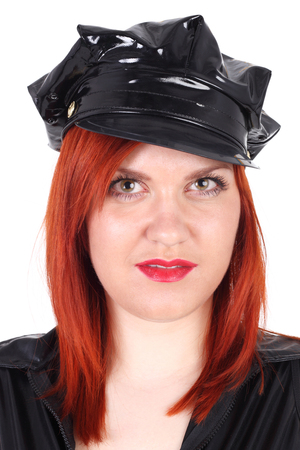 young sexy red haired police woman Stock Photo