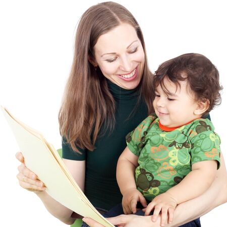 pretty young mother teaching her little child Stock Photo