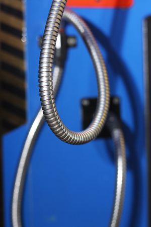 set of the metal hoses on an automatic machine