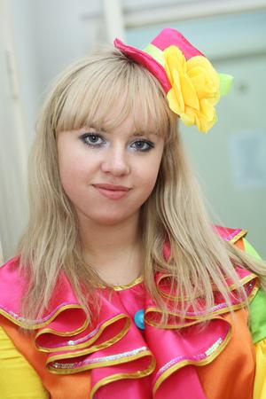 young blond clown actress closeup Stock Photo