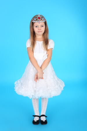 pretty little princess in the beautiful dress and diadem
