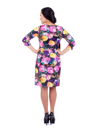 pretty young woman wearing a beautiful dress, back view