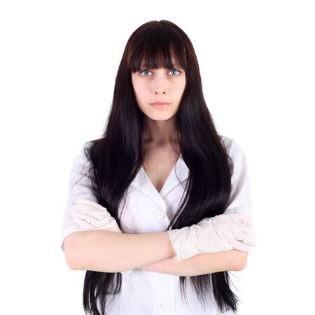 young beautiful brunette doctor closeup
