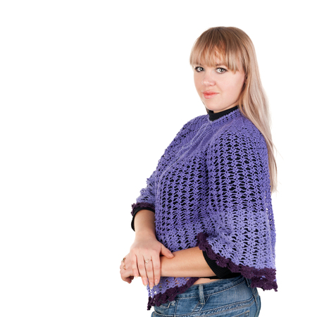 pretty young blond girl in the crocheted mantlet