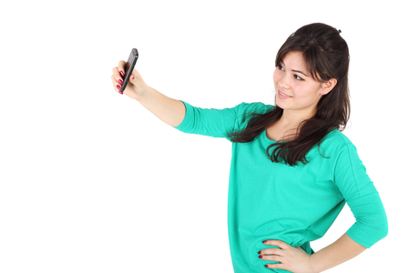 pretty young girl making selfie