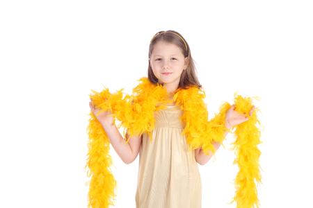 pretty little girl with the gold boa