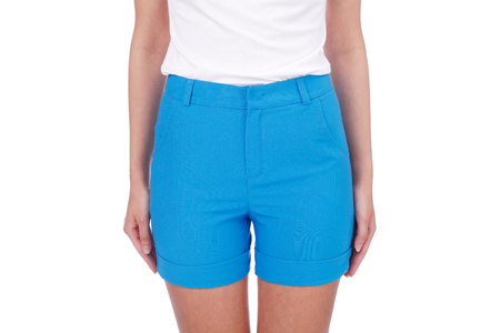 blue textile summer shorts closeup Stock Photo