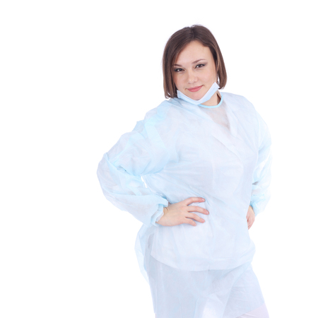 pretty young woman in a medical uniform