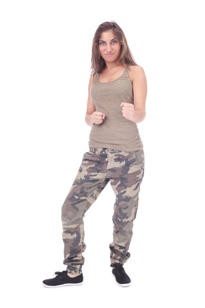 aggressive girl wearing military clothing