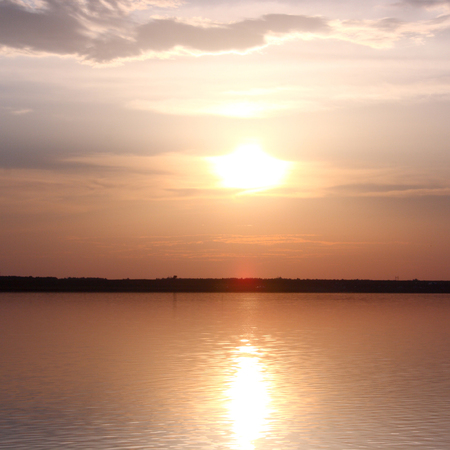 evening glow over a lake Stock Photo