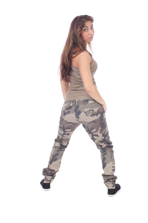 modern girl wearing military clothing, back view