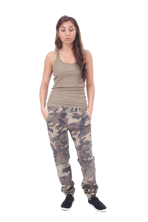 modern girl wearing military clothing  isolated on white Stock Photo