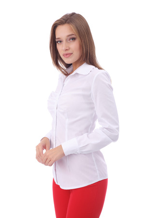pretty young girl wearing white office blouse and red pants Stok Fotoğraf