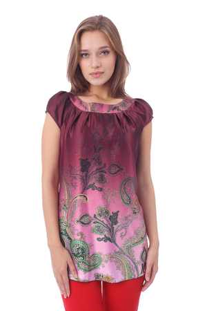 pretty young girl wearing vinous tunic and red pants