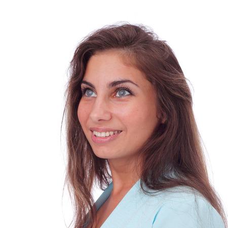pretty young brunette girl closeup