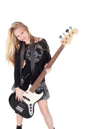 beautiful young teen blond girl with the electric guitar
