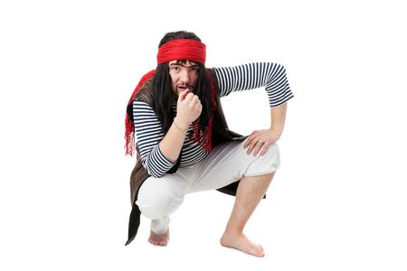 young actor playing pirate closeup