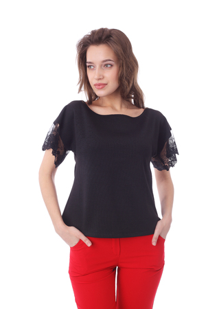 pretty young girl wearing black top with the lace sleeves