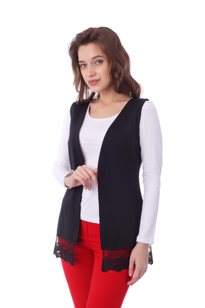 pretty young girl wearing waistcoat and red pants Banco de Imagens