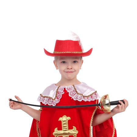 Mignon, petit garçon, porter, mousquetaire, carnaval, déguisement Banque d'images - 99670883