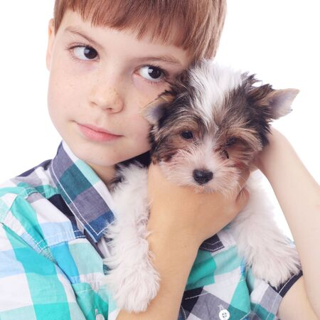 cute little boy with the cute little puppy