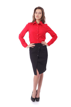 pretty young girl wearing black formal skirt and red blouse